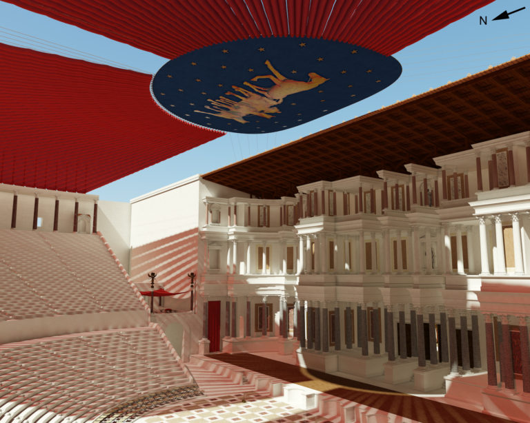 Théâtre de Pompée à Rome, recouvert de vélums soutenus par un demi-anneau de cordes central