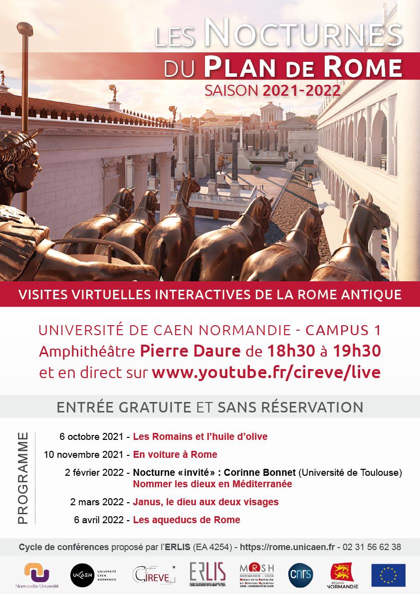 Affiche de la saison 2021-2022 des Nocturnes du plan de Rome.